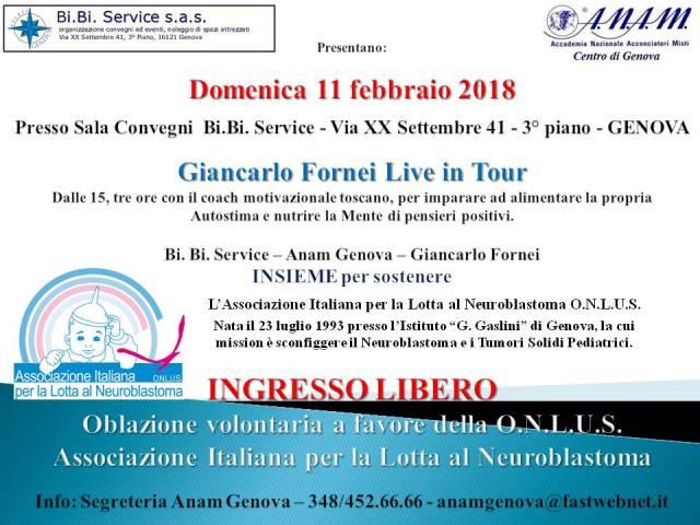 Cartolina Seminario Genova evento benefico 11 febbraio 2018 a favore Associazione Italiana Lotta Neuroblastoma