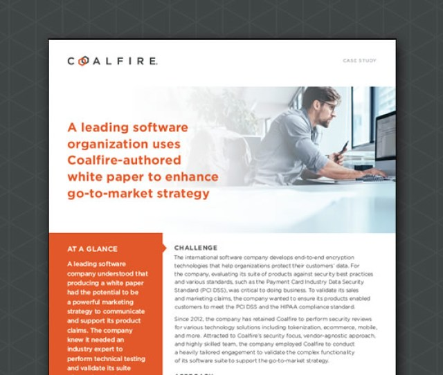 A Leading Software Organization Uses Coalfire Authored White Paper To Enhance Go To