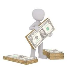 character holding bundle of money