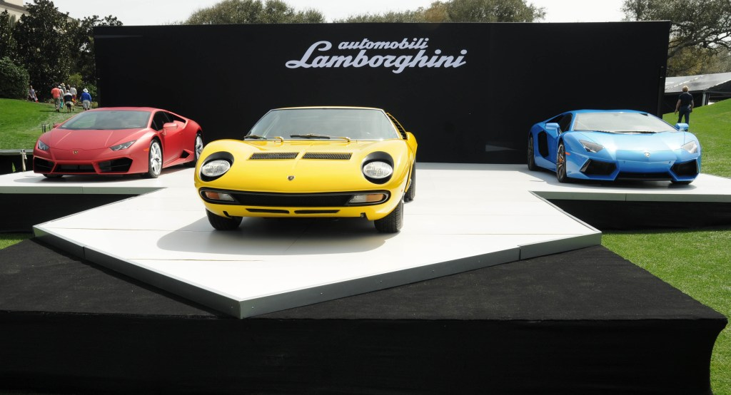 Three generations of Lamborghinis showcased at the 2016 Concours d'Elegance.