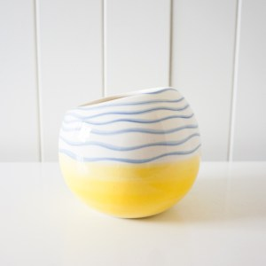 Yellow and Navy Planter
