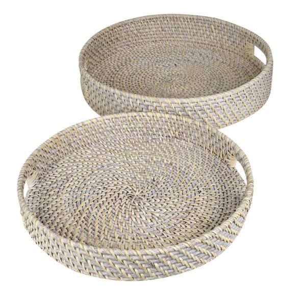 Rattan Round Tray Set