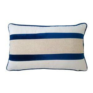 Dark Blue & Jute Cushion Cover