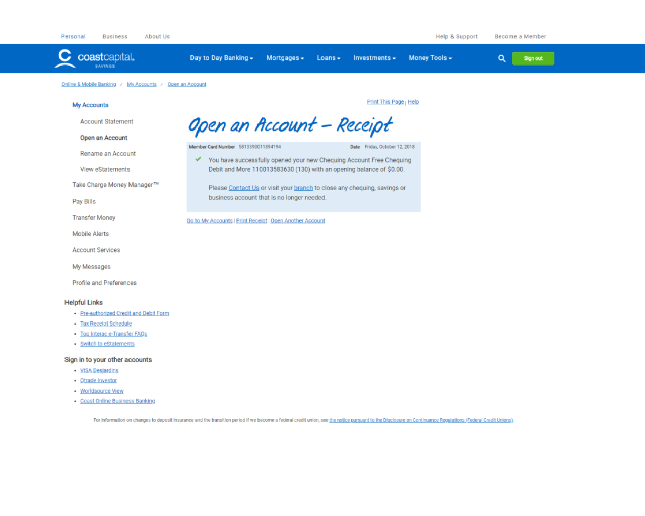 Coast Capital Online Banking Personal