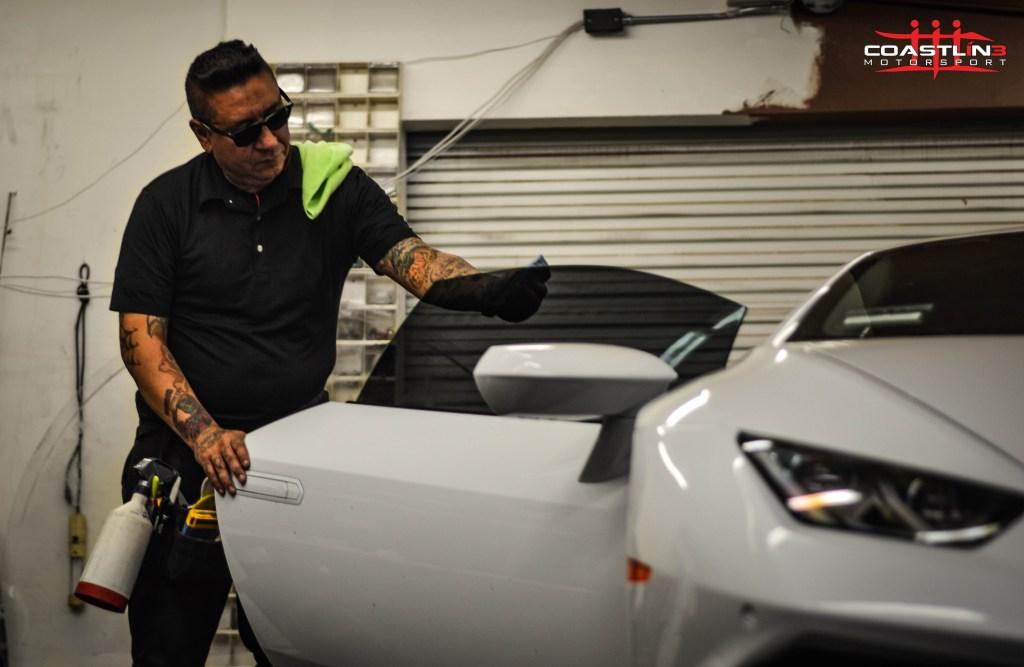 Lamborghini Getting Window Tint Service