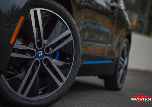 BMW i3 with Custom Matched Blue Caliper Paint Service