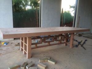 Custom furniture seen here is a solid outdoor Dining table in progress