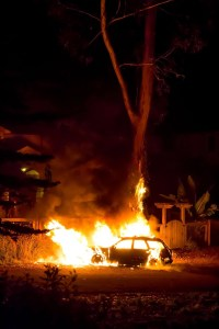 Spontaneously Flaming Car in Montara