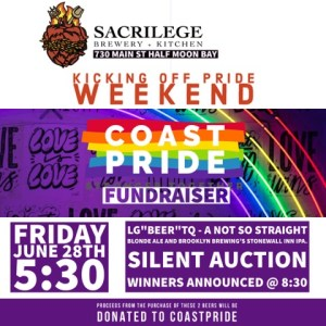 CoastPride Fundraiser at Sacrilege Brewery ~ Kicking Off Pride Weekend! @ Sacrilege Brewery | Half Moon Bay | California | United States