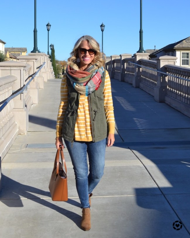 Fall fashion, military vest, mustard, scarf
