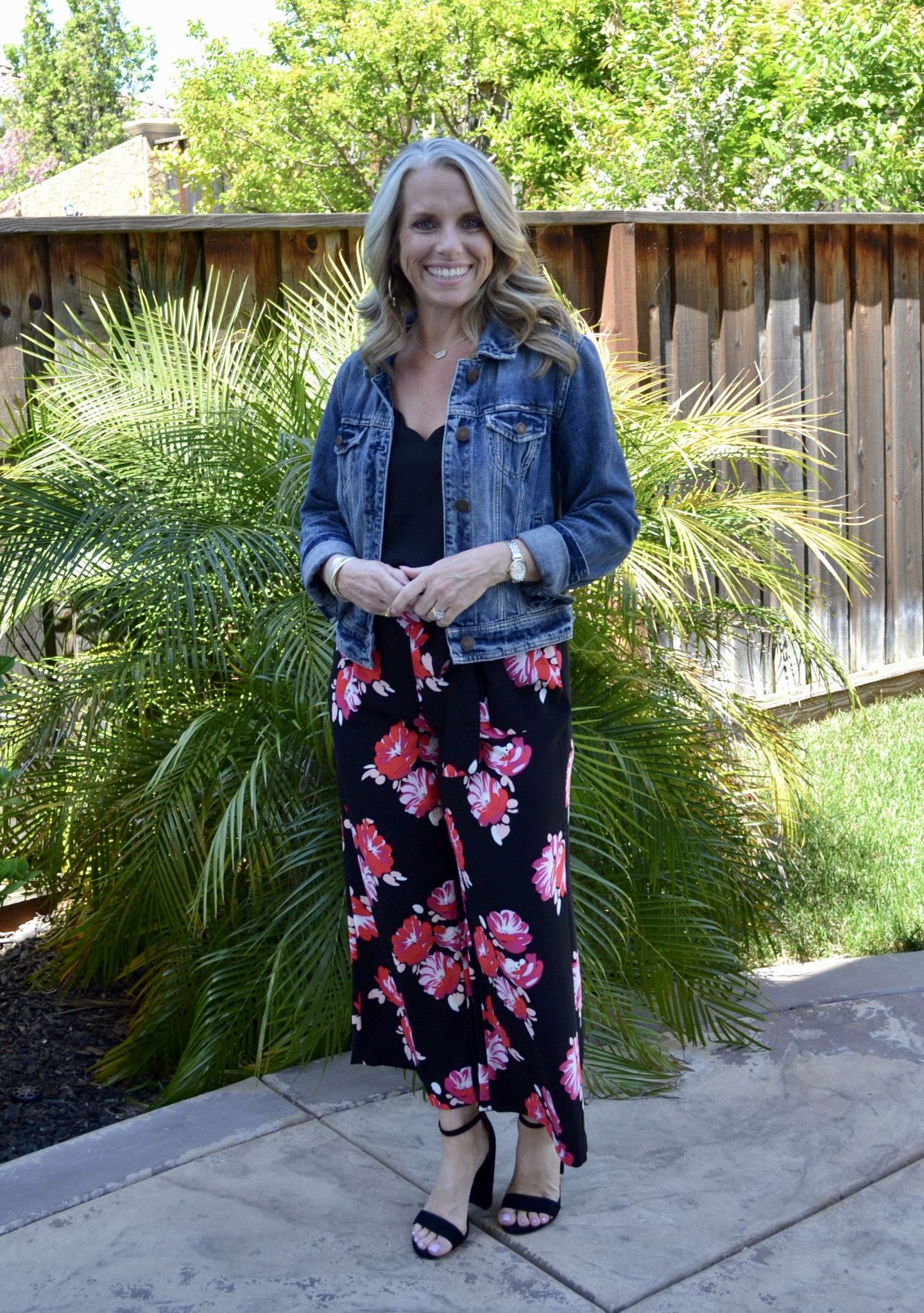 Floral pants and black cami with jean jacket