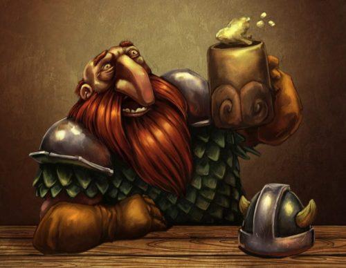 dwarf drinking beer