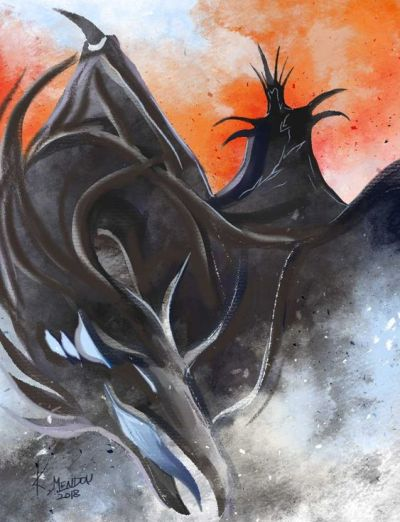A stylized yet effective illustration of a Nazgul, by K. Mendon