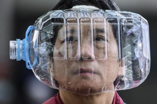 water bottle on face