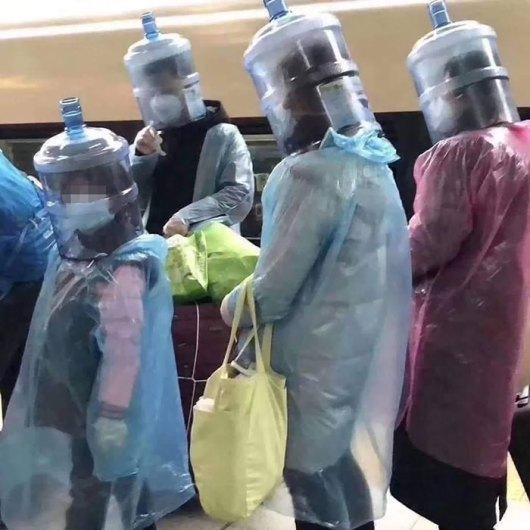 water bottles on heads