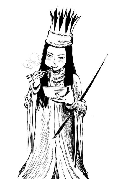 Jadis the White Witch eats a bowl of noodles
