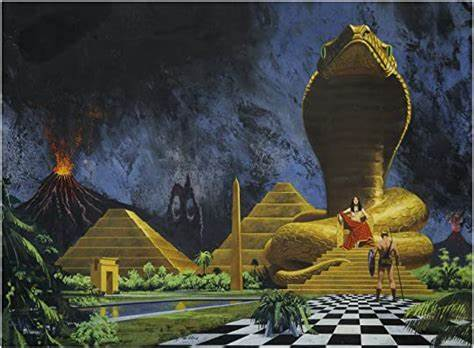 Wraparound cover for the 1974 Ballantine paperback edition of The Lost Continent by Charles John Cutcliffe Wright Hyne