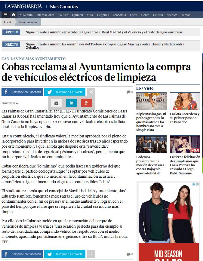 La Vanguardia cobas electricos