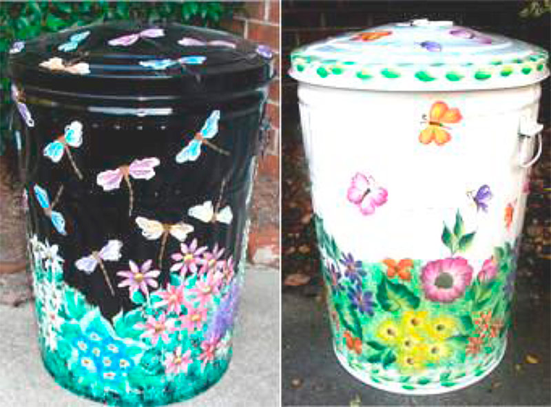 Decorated trash cans