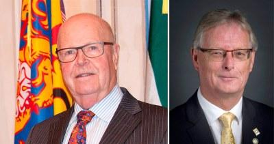 Mayor Gil Brocanier and Mayor elect John Henderson