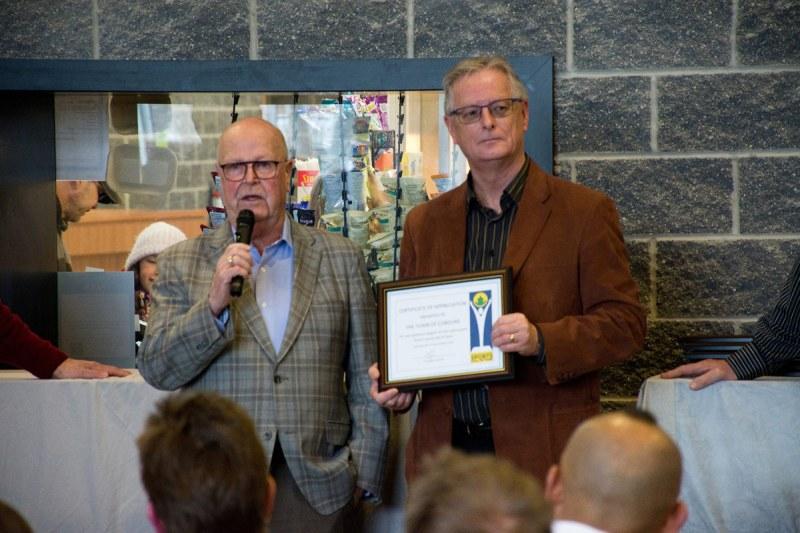 Previous Mayor Gil Brocanier with Mayor John Henderson