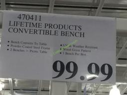 Lifetime Products Convertible Bench Costcochaser