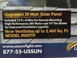 Us Sunlight Solar Attic Fan 20w Model 9920tr Costcochaser