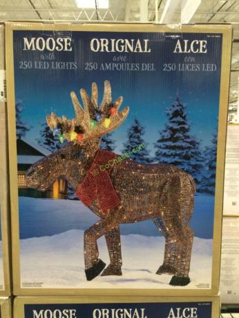 45 Led Glitter String Moose With Tangled Lights