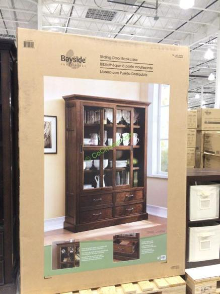 Bayside Furnishings Sliding Door Bookcase Costcochaser