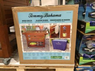 Tommy Bahama 100 Quart Wood Rolling Cooler Costcochaser