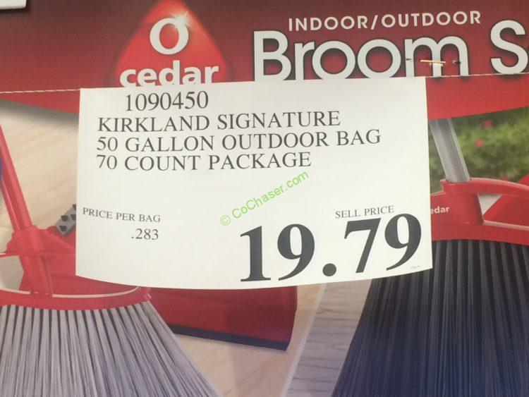 Kirkland Signature 50 Gallon Smart Tie Closure Black Outdoor Trash Bags 70-count