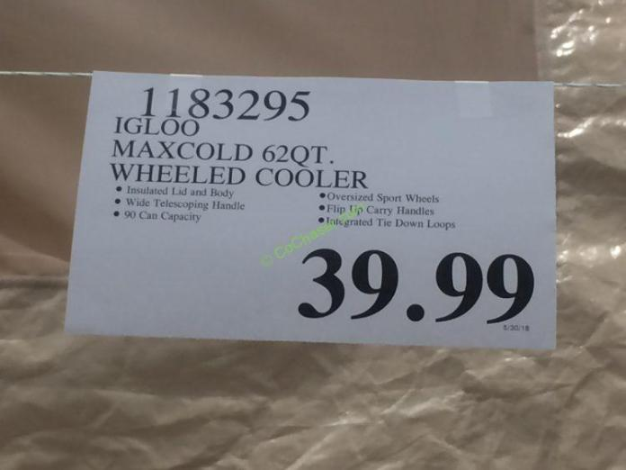 Costco-1183295-Igloo-Maxcold-62QT-Wheeled-Cooler-tag