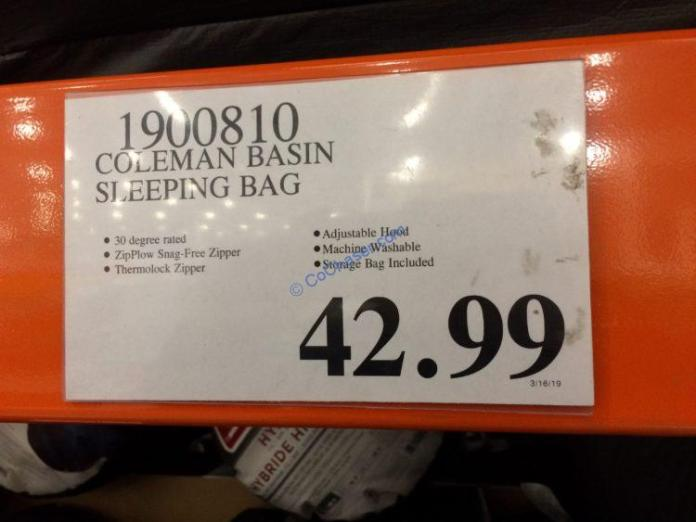 Costco-1900810-Coleman-Basin-Sleeping-Bag-tag