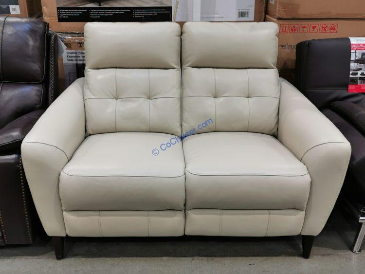 leather power reclining loveseat with