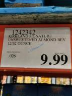 Costco-1242342-Kirkland-Signature-Unsweetened-Almond-Beverage-tag