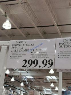 Costco-1480617-Inspire-Fitness-PVC-Hex-210lb-Dumbbell-Set-tag