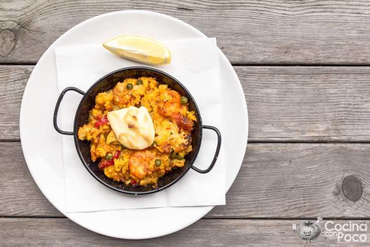 arroz con coliflor y bacalao al horno