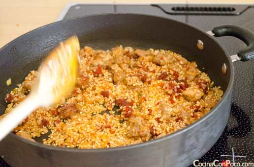 arroz con sobrasada receta paso a paso
