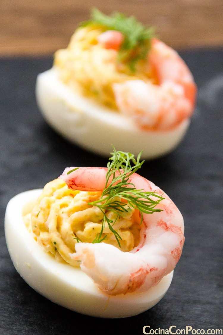 Huevos rellenos paso a paso cocina con poco recetas - Cenas de navidad originales ...
