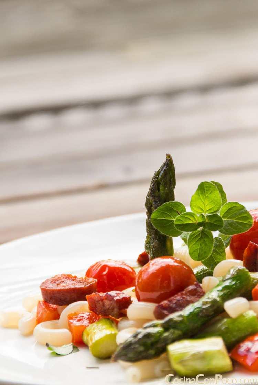 macaroni receta verdura braseada chorizo