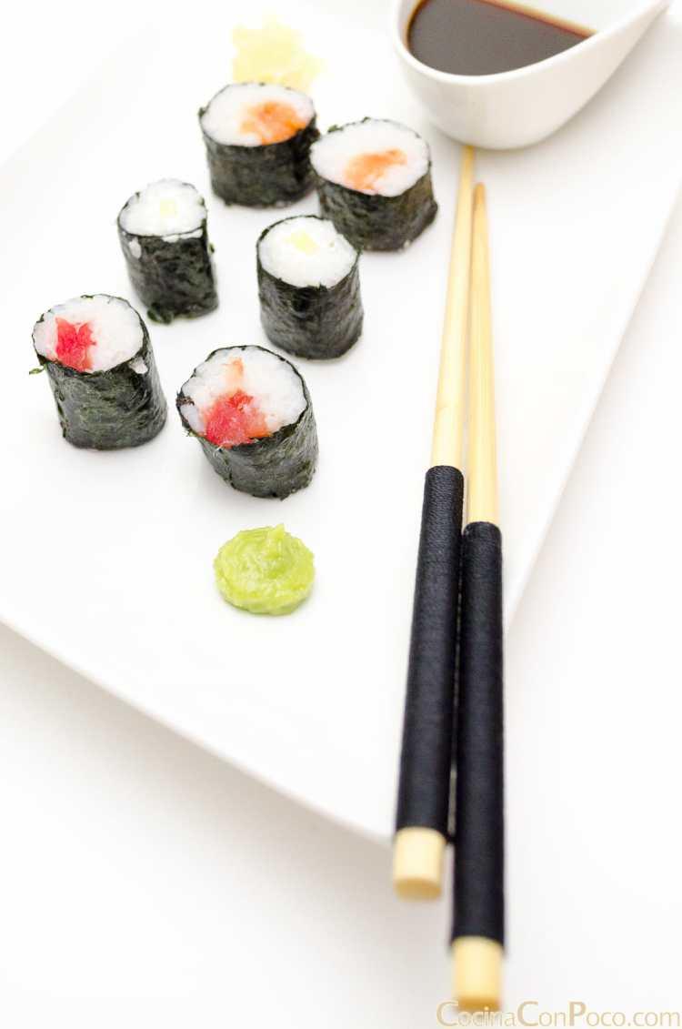 shusi maki de salmon atun pepino receta facil