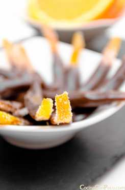 tiras naranja confitada chocolate