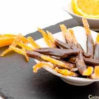 Tiras de naranja confitada y chocolate - Paso a Paso