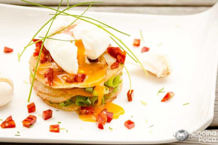 huevos rotos con chorizo ibérico de bellota