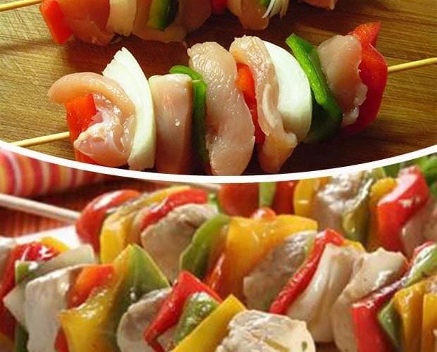 brochettes de pollo y verduras a la parrilla