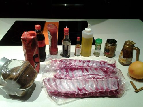 receta de costillar de cerdo al horno con calimoño -ingredientes