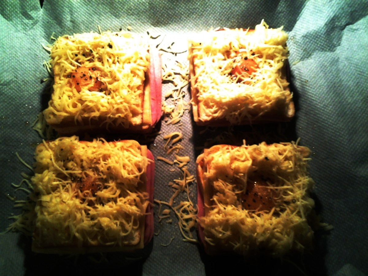 Sandwich al horno de jamón, queso y huevo