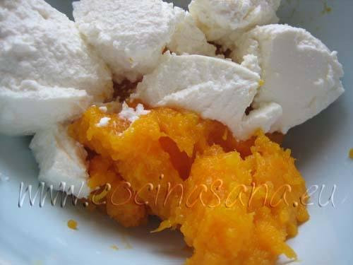 Calabaza y queso ricotta para el relleno