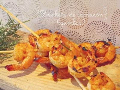 Brochetas de Camarón marinadas en Pimentón y Miel
