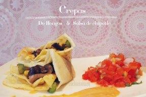 Crepas de Hongos con salsa de Chipotle y Almendras. Cocina fusión de Mexico y Francia.